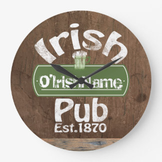 Personalized Irish Pub Old Keg Effect Sign Large Clock