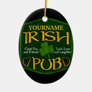 Personalized Irish Pub Sign Ceramic Oval Ornament