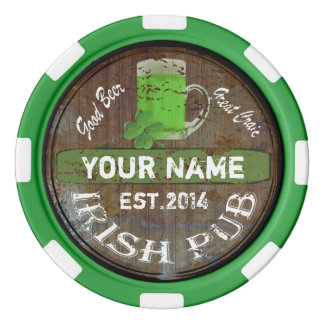 Personalized Irish Pub sign Poker Chips