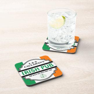 Personalized Irish Pub Tavern for Couples Drink Coaster