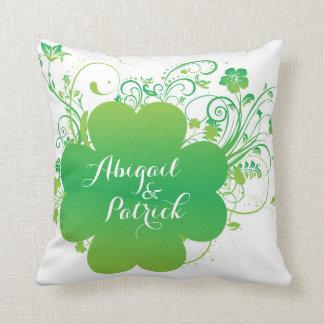 Personalized Irish Shamrock Accent Pillow