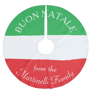 Personalized Italian Flag Christmas Tree Skirt Brushed Polyester Tree Skirt