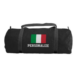 Personalized Italian flag duffle gym bag   Black