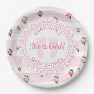 Personalized It's a Girl Pink Baby Shower Plates
