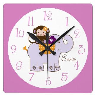 Personalized Jacana Monkey on Elephant Any color! Square Wall Clock