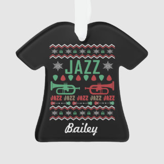Personalized Jazz Ugly Christmas Sweater Ornament