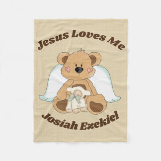 Personalized Jesus Loves Me Fleece Blanket