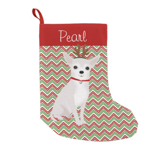 Personalized Jolly White Chihuahua Small Christmas Stocking