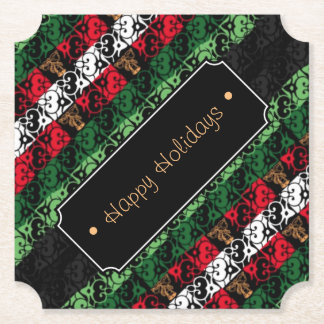 Personalized Joy and Jingle Holiday Cheer Costers Paper Coaster