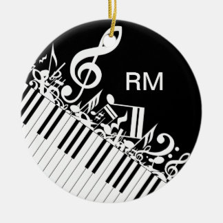 Personalized Jumbled Musical Notes and Piano Keys Round Ceramic Ornament