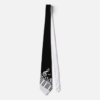 Personalized Jumbled Musical Notes and Piano Keys Tie