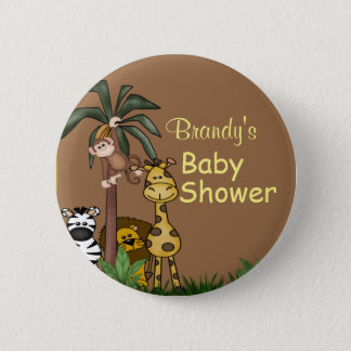 Personalized Jungle Animals Baby Shower Button