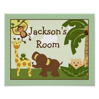 """Personalized """"Jungle Babies Animals"""" Poster Art"""