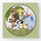Personalized Jungle Buddies Animals Nursery Clock