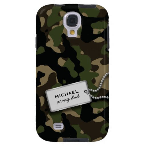 Personalized Jungle Green and Brown Military Camo Galaxy S4 Case
