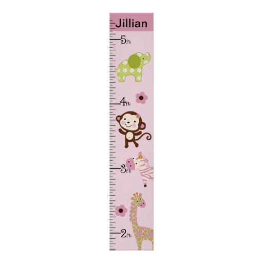 Personalized Jungle Jill/Girl Animals Growth Chart Posters