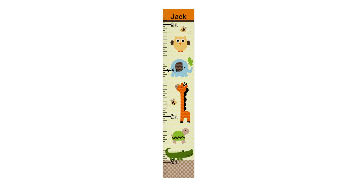 Personalized Jungle Stack Animals Growth Chart Zazzle