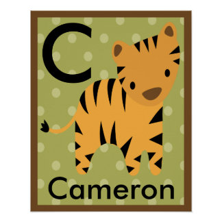 Personalized Jungle Tiger Name Poster