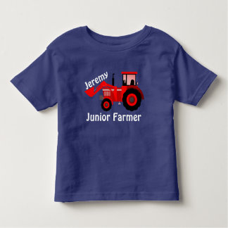 "Personalized ""Junior Farmer"" & Red Loader Tractor Toddler T-shirt"
