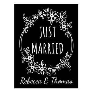 Personalized Just Married Black Wedding Floral Postcard
