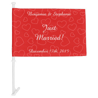 """Personalized """"Just Married""""  Celebration Car Flag"""