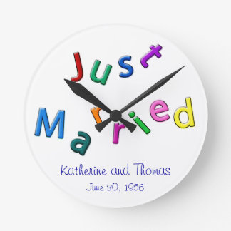Personalized Just Married Jumbled Letters Round Clock