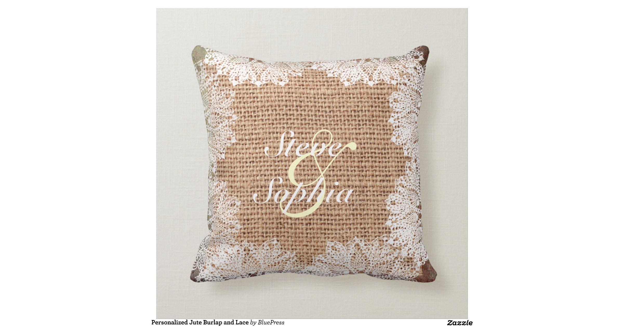 Jute Decorative Pillows : Personalized Jute Burlap and Lace Throw Pillows Zazzle