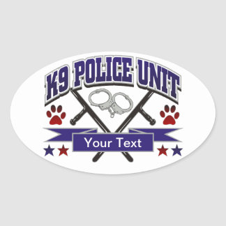 Personalized K9 Police Unit Oval Stickers