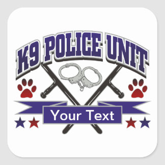 Personalized K9 Police Unit Square Stickers