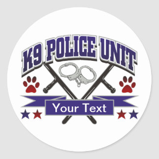 Personalized K9 Police Unit Classic Round Sticker