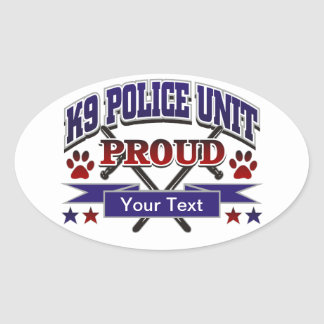 Personalized K9 Unit Proud Oval Sticker
