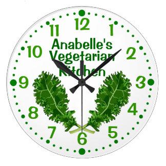 Personalized Kale Vegetarian Kitchen Clock w/ Mins