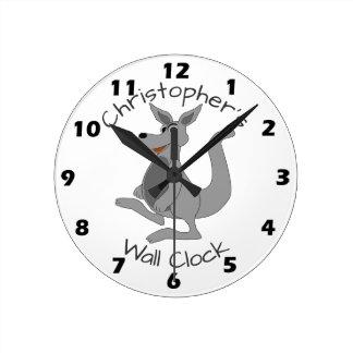 Personalized Kangaroo Design Round Clock