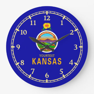 Personalized Kansas State Flag Design on Large Clock