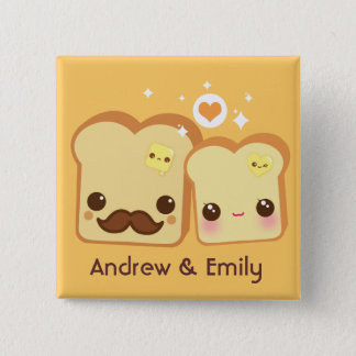 Personalized - Kawaii cute toasts couple 2 Inch Square Button