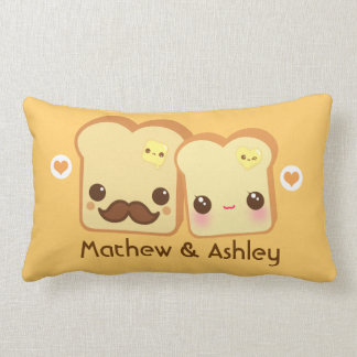 Personalized - Kawaii cute toasts couple Lumbar Pillow