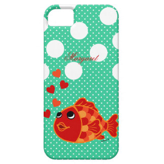 Personalized Kawaii Goldfish Cartoon with Hearts iPhone 5 Cases