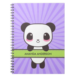 Personalized Kawaii Panda Notebook/Journal Spiral Note Books