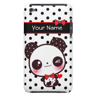 Personalized Kawaii panda on black polka dots iPod Touch Case-Mate Case