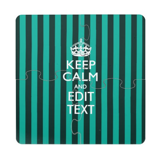 Personalized KEEP CALM AND Edit Text for Cool Gift Puzzle Coaster