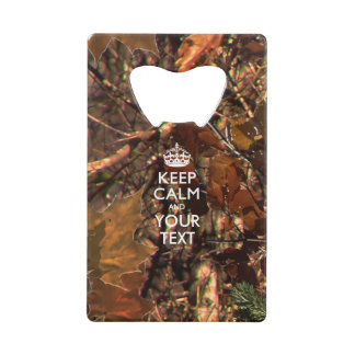 Personalized KEEP CALM AND Edit Text Hunter's Camo Wallet Bottle Opener