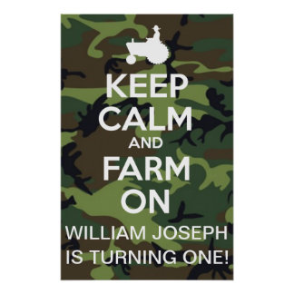 Personalized Keep Calm And Farm On Camouflage Poster