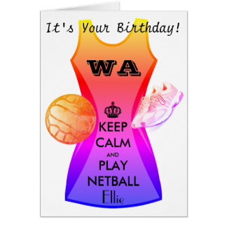 Personalized Keep Calm and Play Netball Quote Card