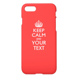Personalized KEEP CALM and your text on Coral iPhone 7 Case