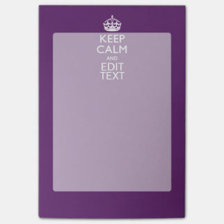 Personalized KEEP CALM AND Your Text on Purple Post-it Notes