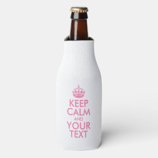 Personalized KEEP CALM and YOUR TEXT - pink words Bottle Cooler