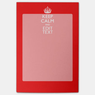 Personalized Keep Calm And Your Text Red Classic Post-it Notes