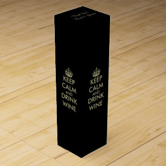 Personalized keep calm winebox | Black & faux gold Wine Gift Box