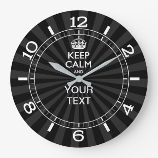 Personalized KEEP CALM your text Black Dial Large Clock