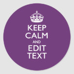Personalized KEEP CALM Your Text on Purple Decor Round Sticker